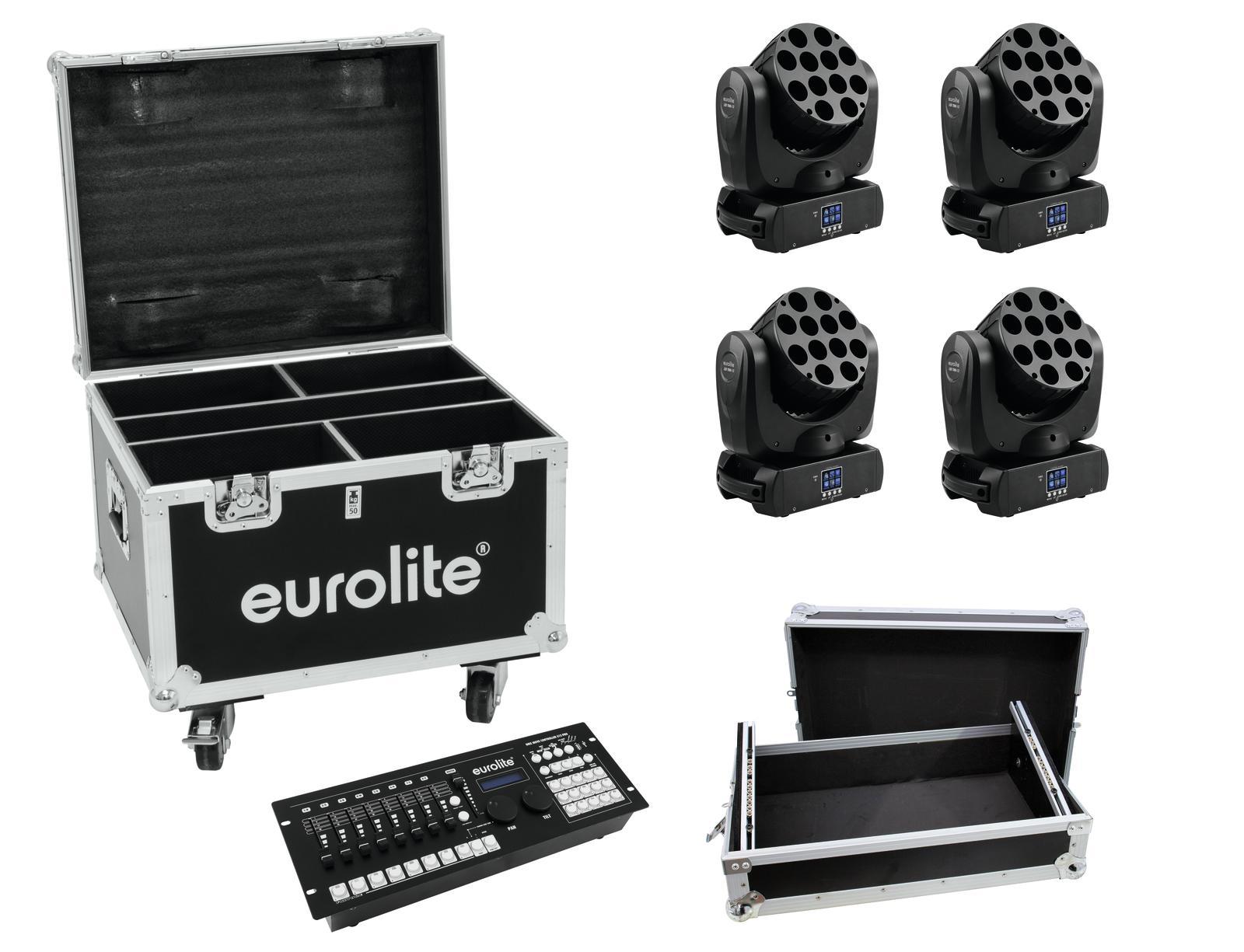 EUROLITE Set 4x LED TMH-12, Controller, Casi