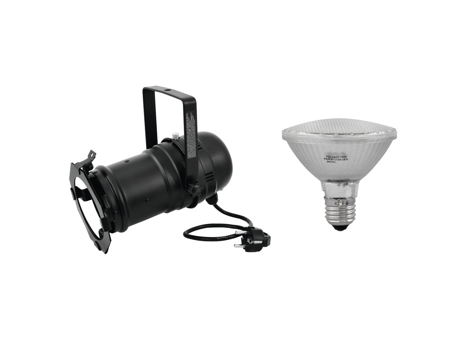 EUROLITE Impostare PAR-30 Spot bk + PAR-30 230V COB 10W E-27 LED 2700K