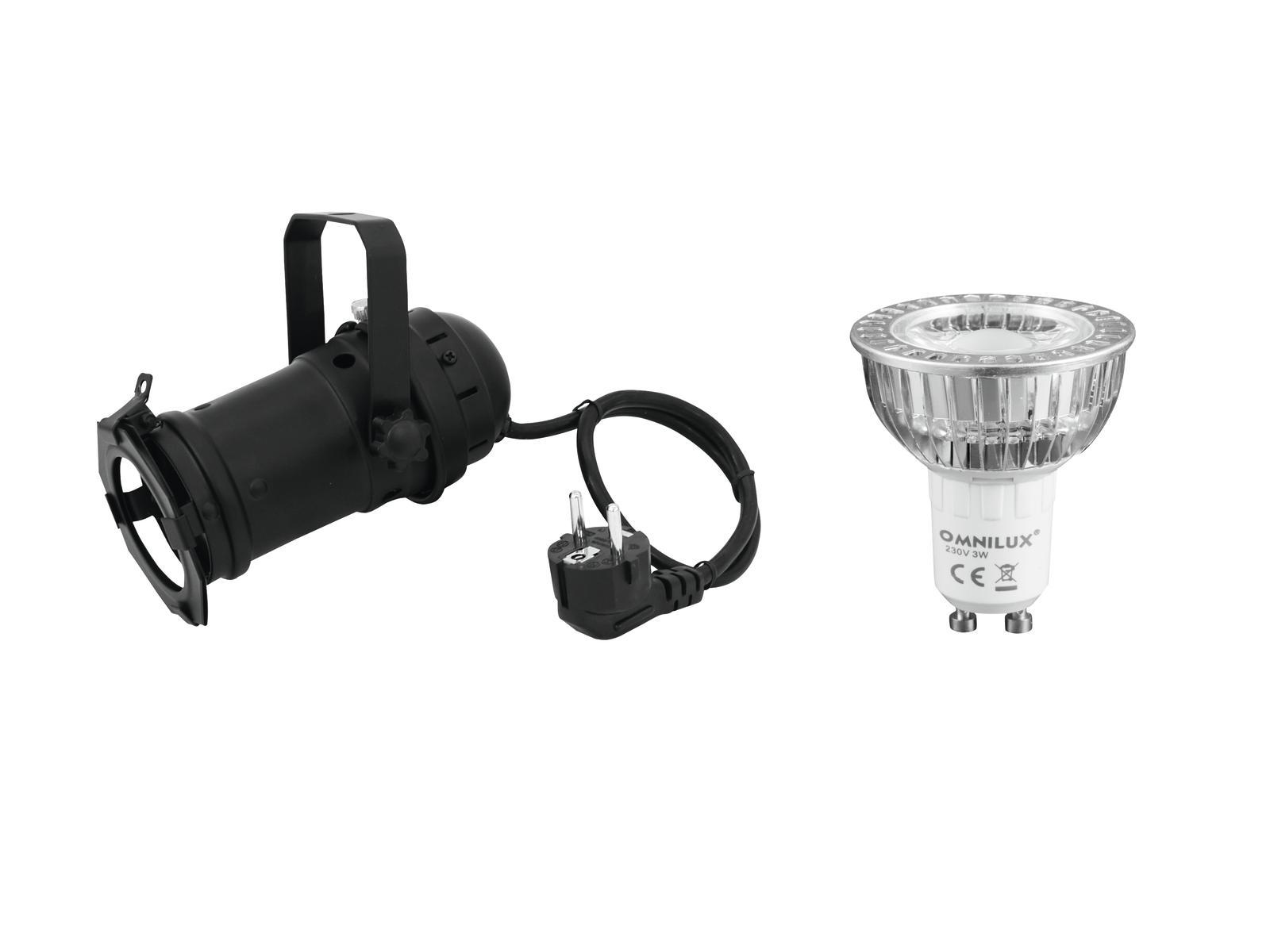 EUROLITE Impostare PAR-16 Spot bk + GU-10 230V COB 1x3W LED 2700K