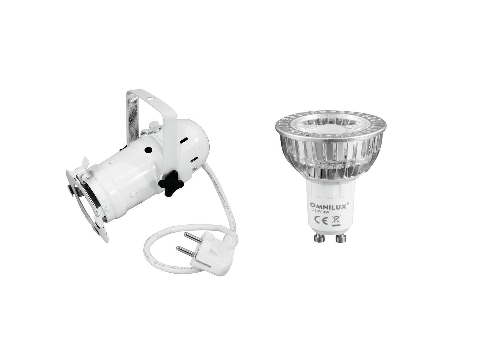EUROLITE Impostare PAR-16 Spot wh + GU-10 230V COB 1x3W LED 6000K