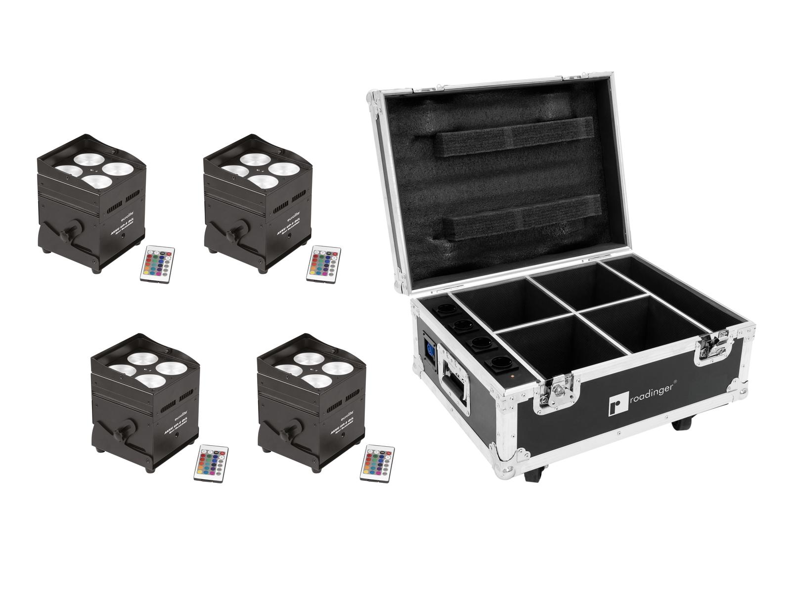 EUROLITE Set 4x AKKU UP-4 QCL Spot QuickDMX + Case mit Ladefunktion