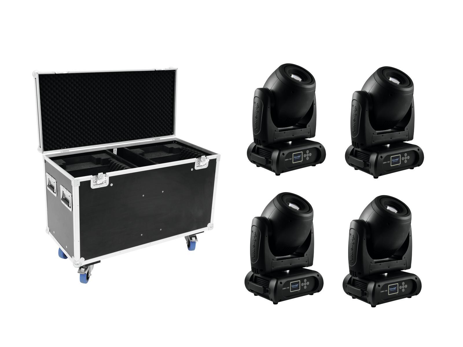 FUTURELIGHT Set 4x DMH-160 LED Moving-Head + Caso