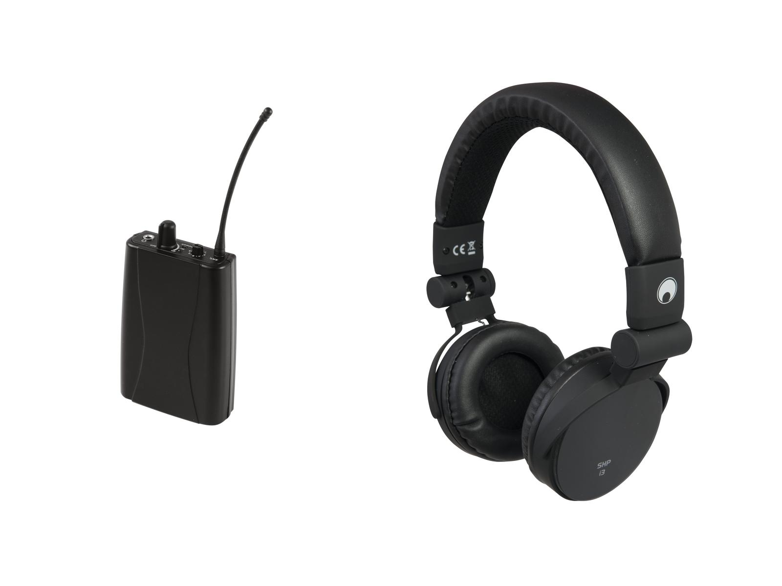 OMNITRONIC Set WMR-1M UHF ricevitore + SHP-i3 cuffie stereo bl