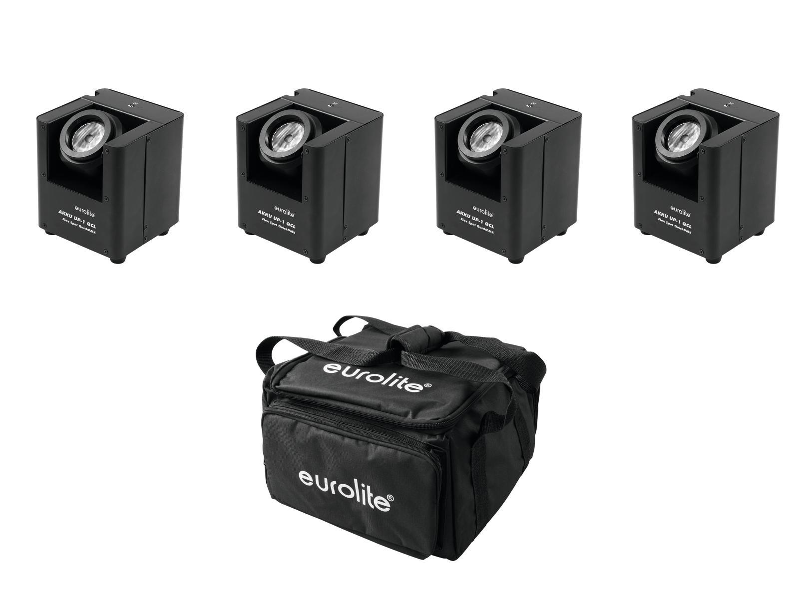EUROLITE Set 4x AKKU UP-1 + SB-4 Soft-Bag