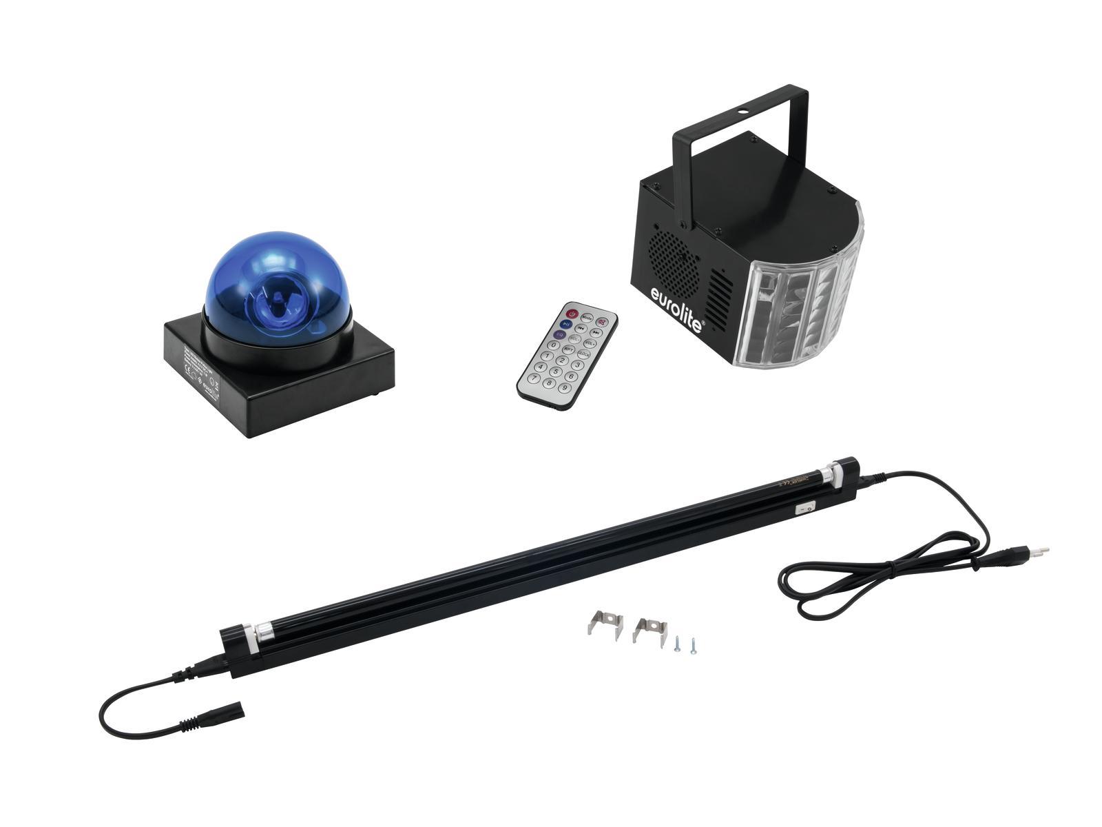 EUROLITE LED di Set Buzzer-Polizeilicht blu + LED Mini D-4 + UV tu