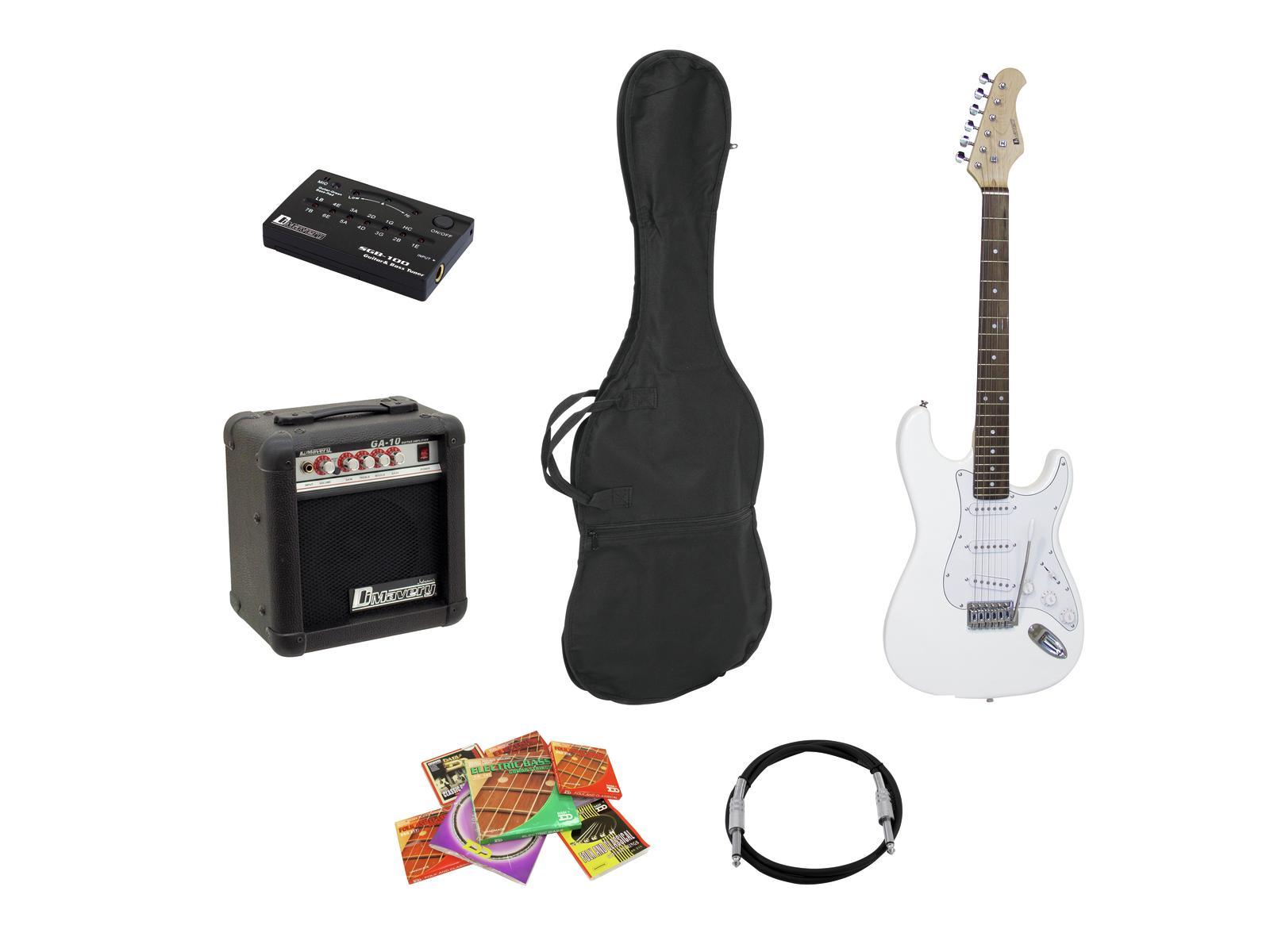DIMAVERY EGS-10X E-Gitarren-Set, weiß