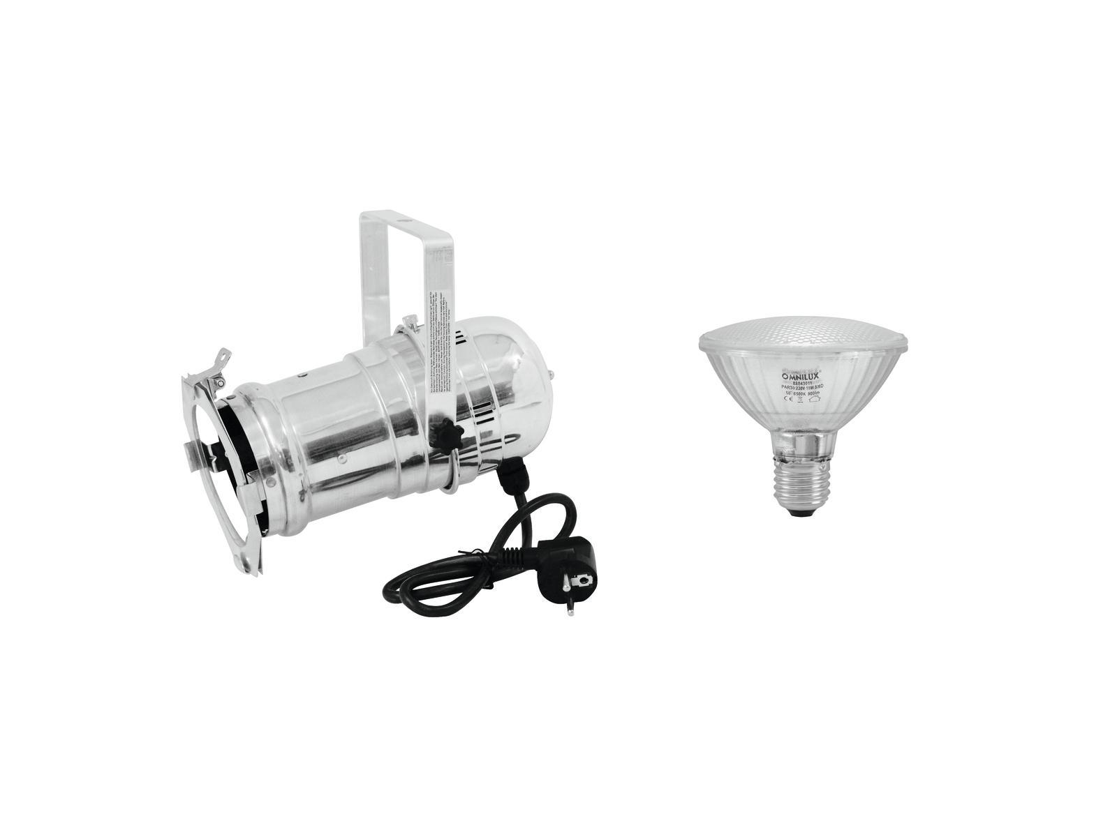 EUROLITE Set PAR-30 Spot sil + PAR-30 230V SMD 11W E-27 LED 6500K
