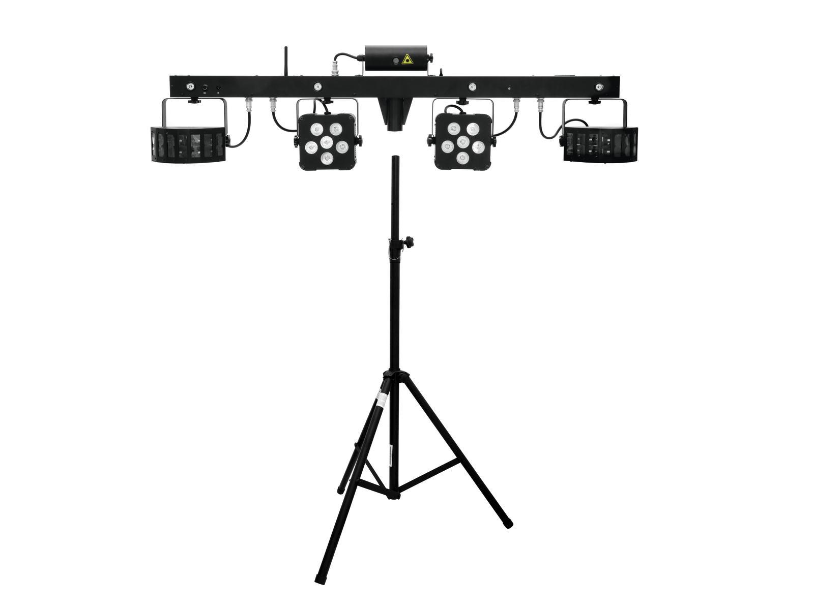 EUROLITE LED di Set KLS Laser Bar Pro FX + sistema di Altoparlanti stand alu