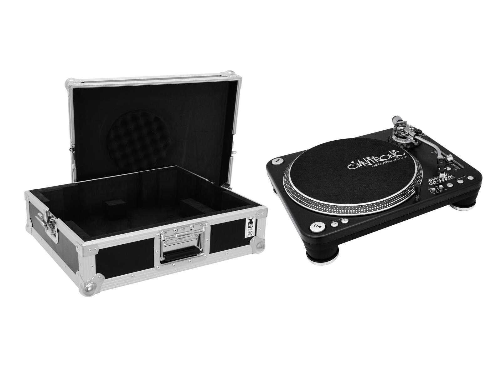 OMNITRONIC Set DD-5220L Plattenspieler sw + Case Tour Pro schwarz -B-