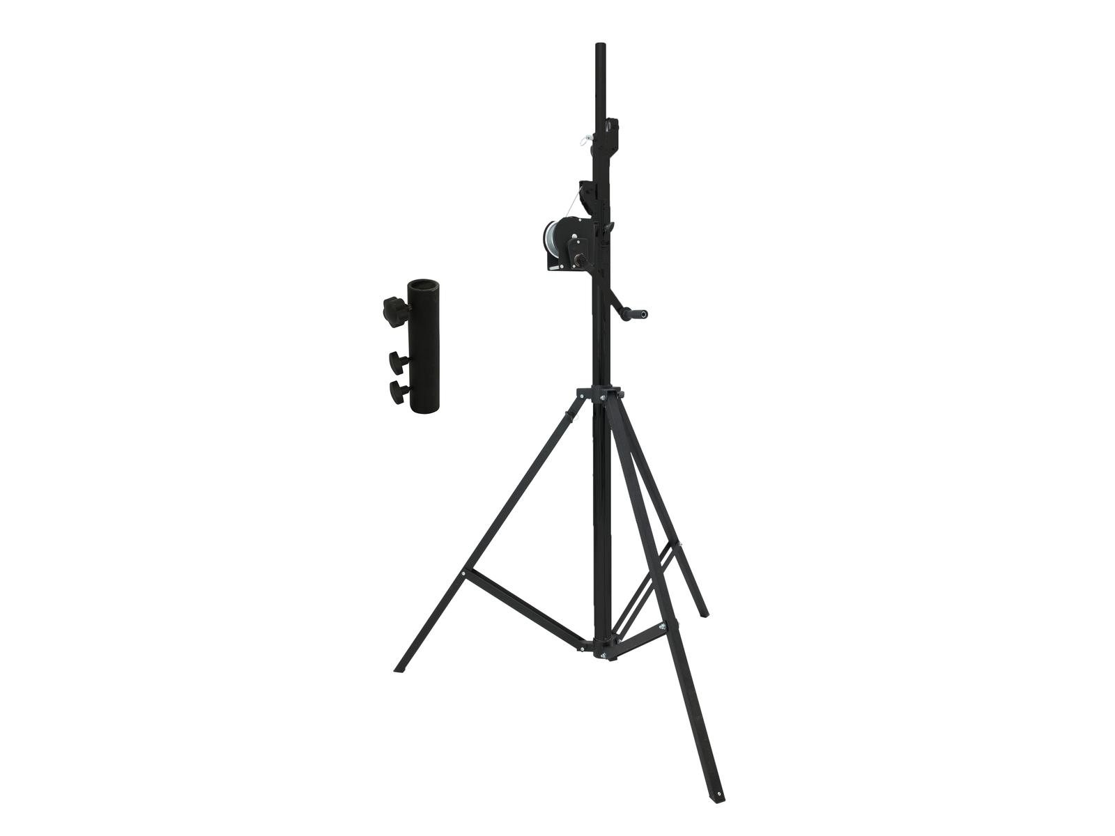 EUROLITE Set STT-400/85 Kurbelstativ TÜV/GS schwarz + STV3529 Adapter lang