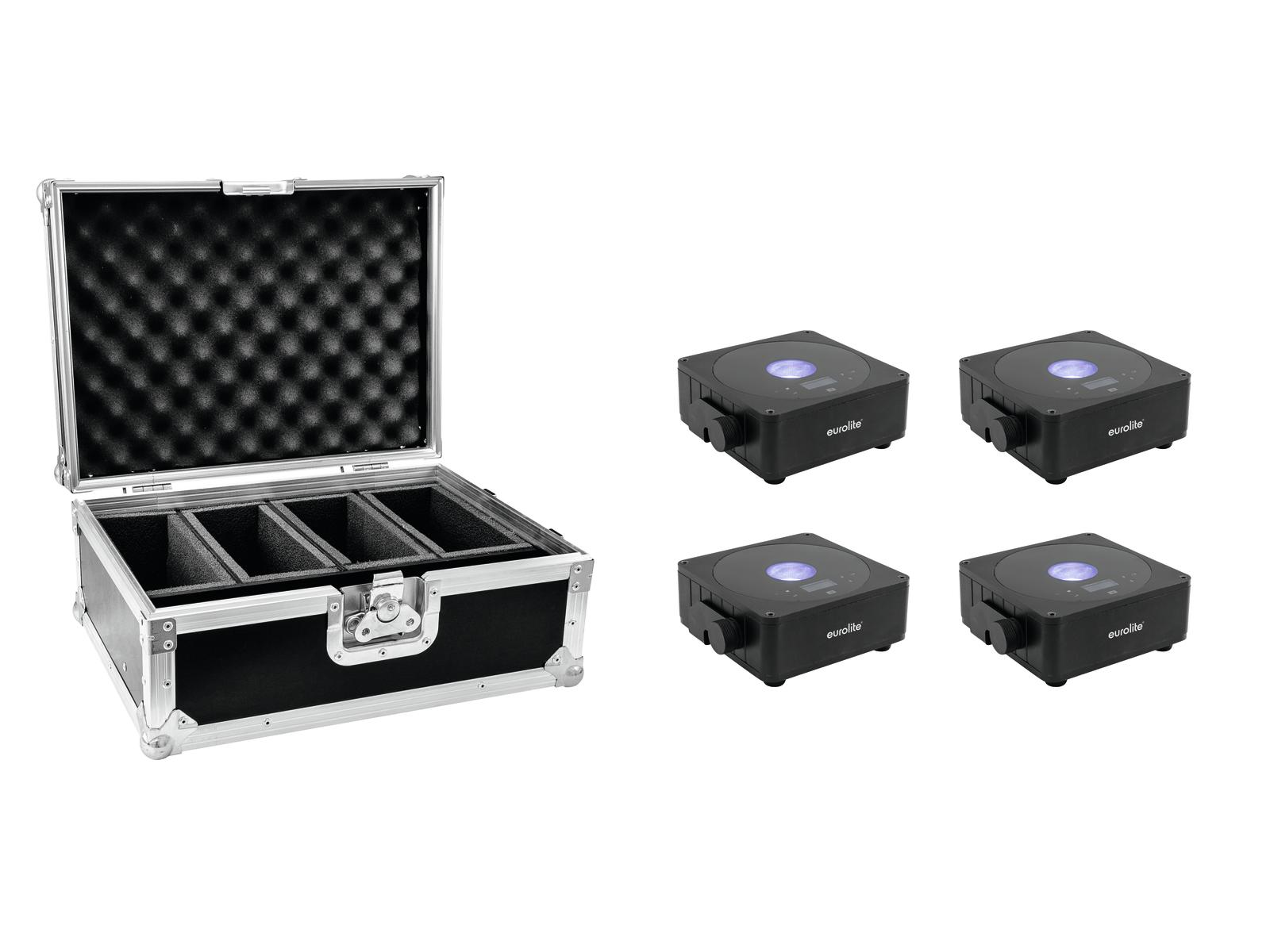 EUROLITE Set 4x AKKU Flat Light 1 schwarz + Case