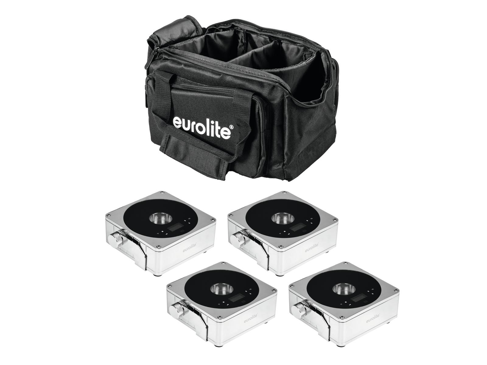 EUROLITE Set 4x AKKU IP Flat Light 1 chrom + Soft-Bag
