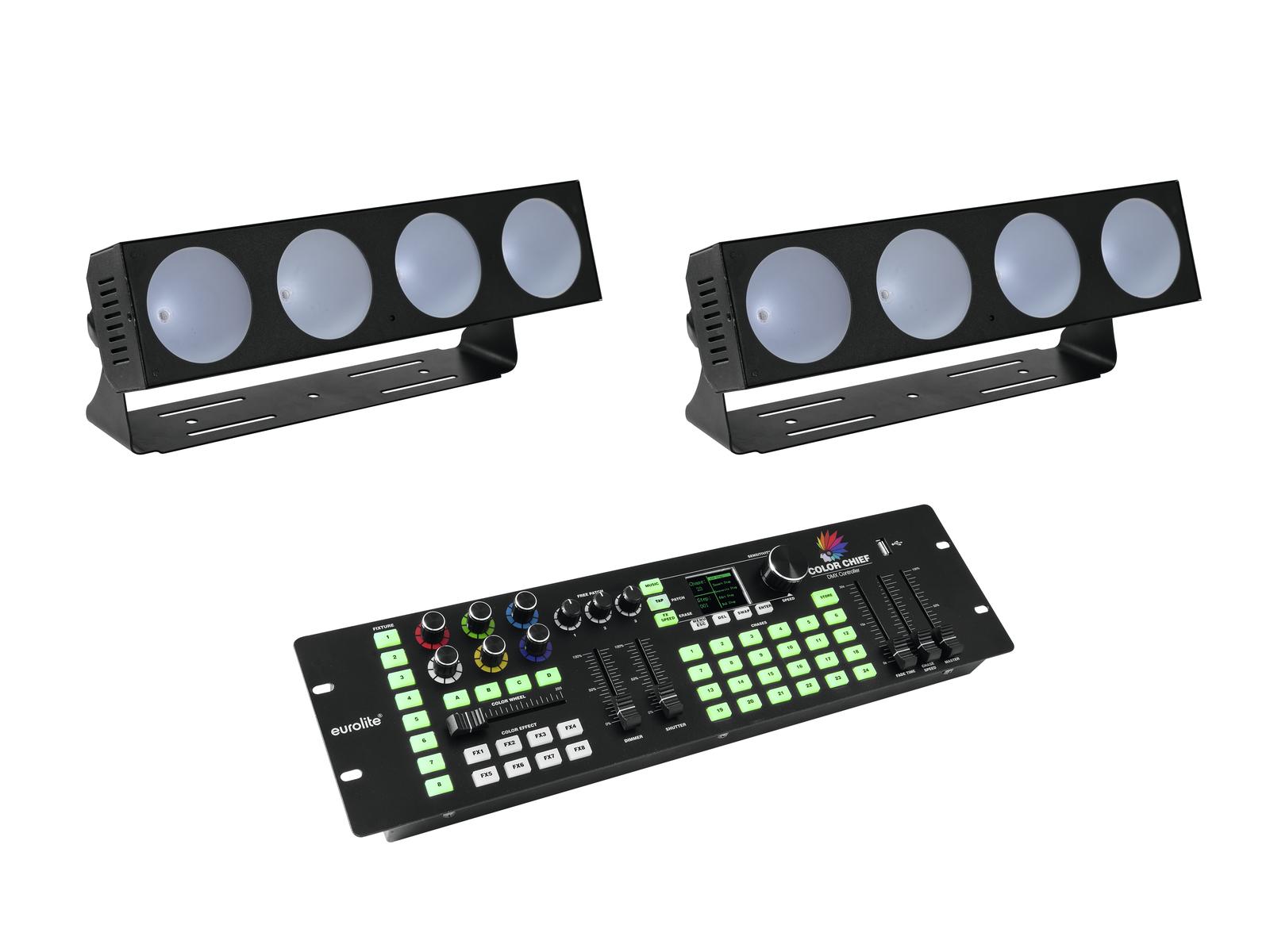 EUROLITE Set 2x LED CBB-4 + DMX LED di Colore Chief Controller
