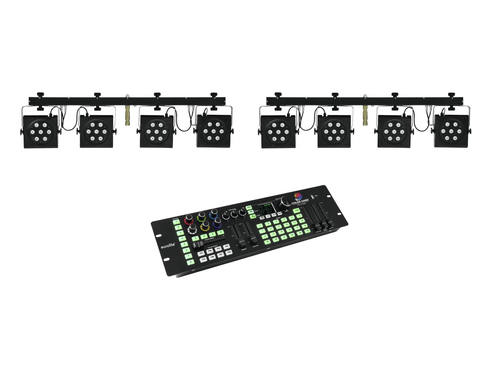 EUROLITE Set 2x KLS-801 + DMX LED di Colore Chief Controller
