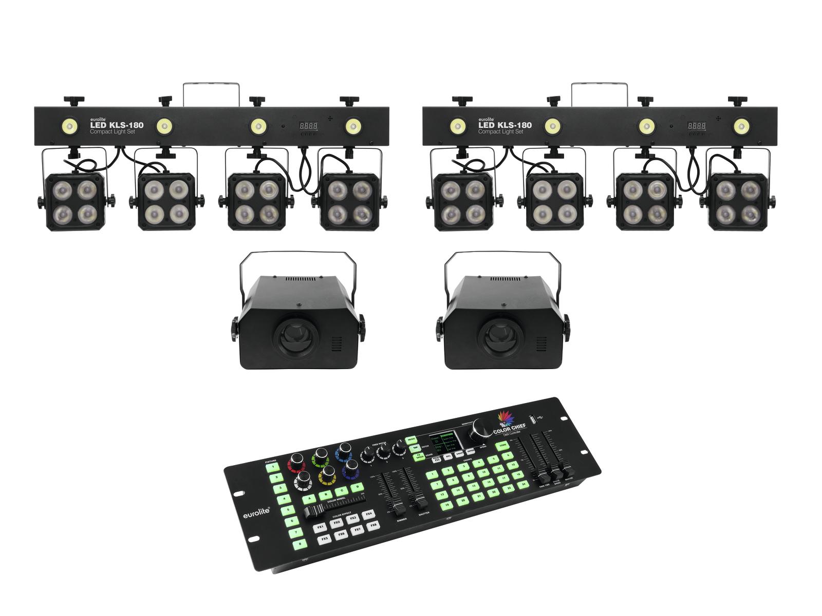 EUROLITE Set 2x LED KLS-180 + 2x LED WF-40 + DMX LED di Colore del Capo