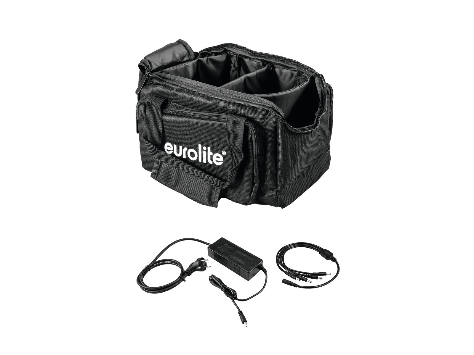 EUROLITE Set SB-14 Soft-Bag + Caricabatterie 4x AKKU Luce Piatta 1