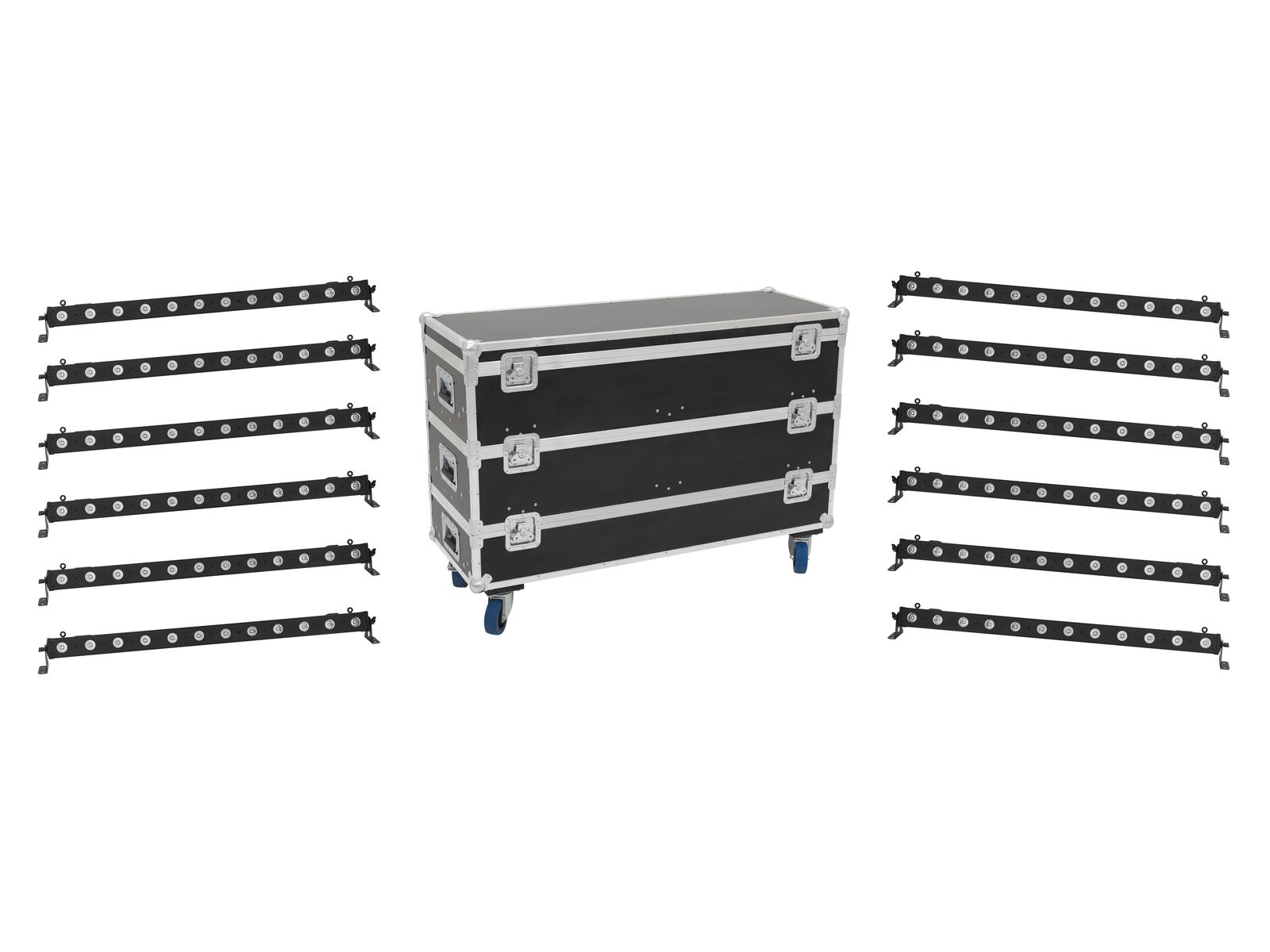 EUROLITE Set 12x LED BAR-12 QLC RGBW Bar + Caso L