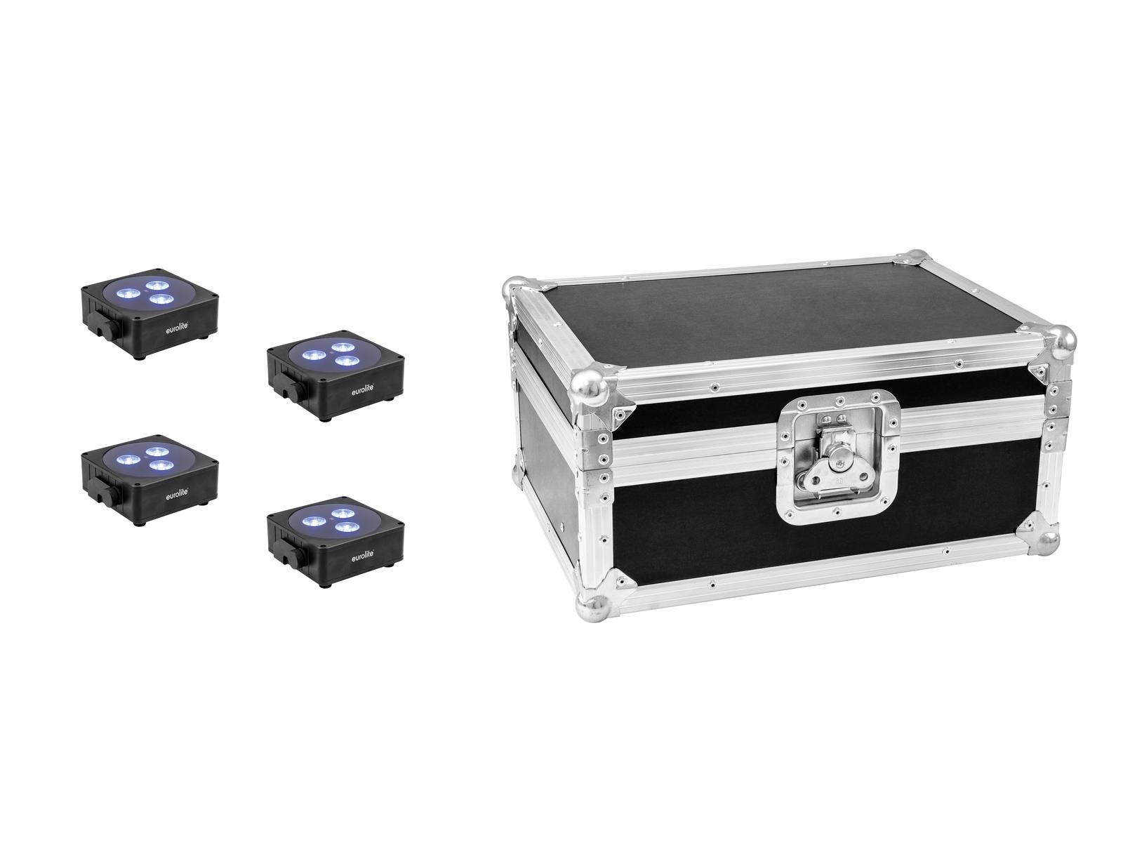 EUROLITE Set 4x AKKU Flat Light 3 sw + Case