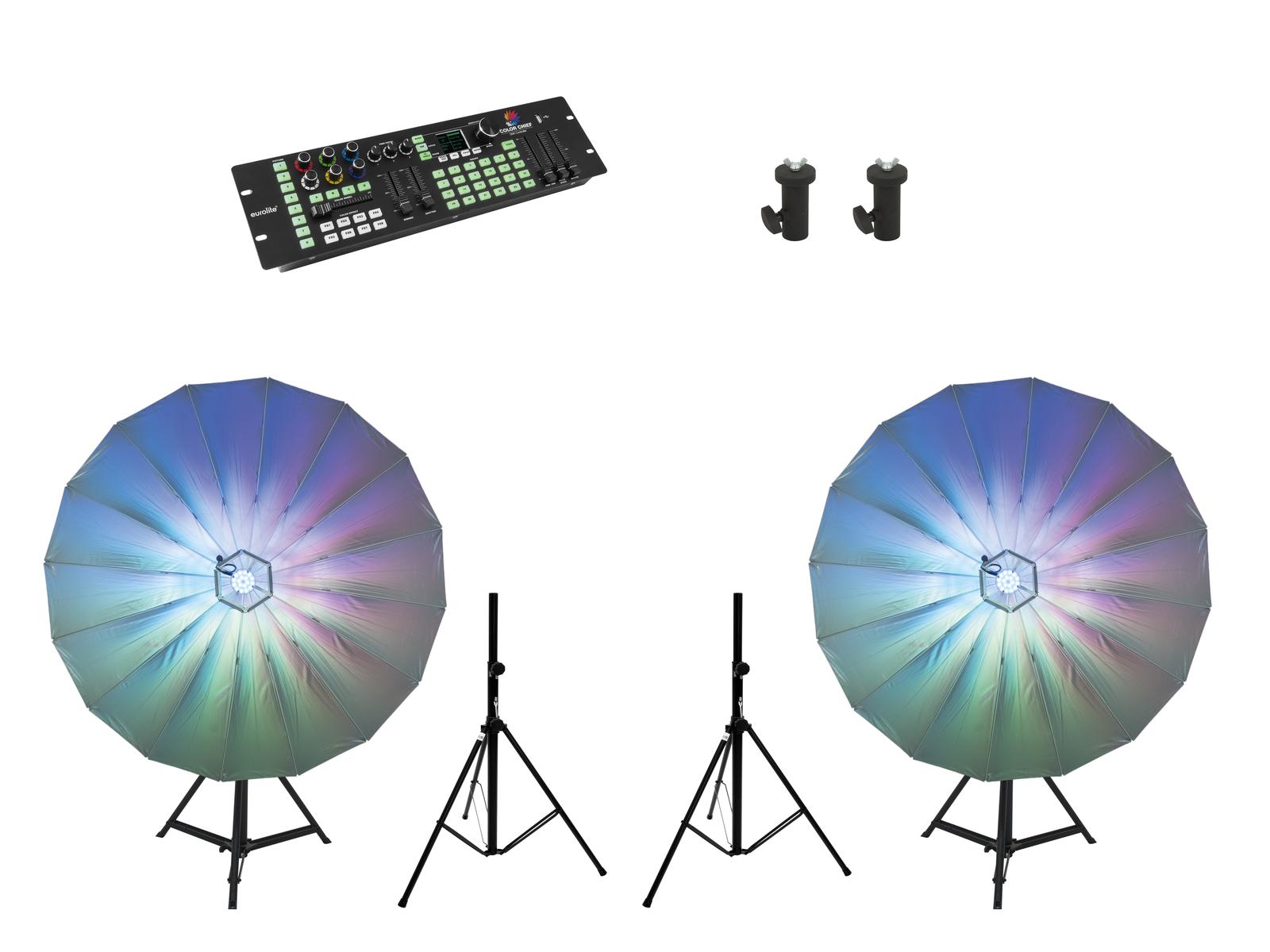 EUROLITE Set 2x LED Umbrella 140 + DMX LED Color Chief + 2x BS-2 EU Ständer