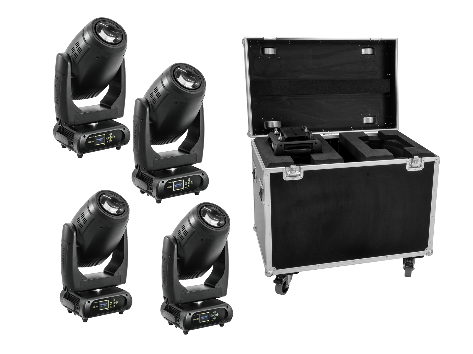 FUTURELIGHT Set 4x DMH-200 LED Moving Head + Caso