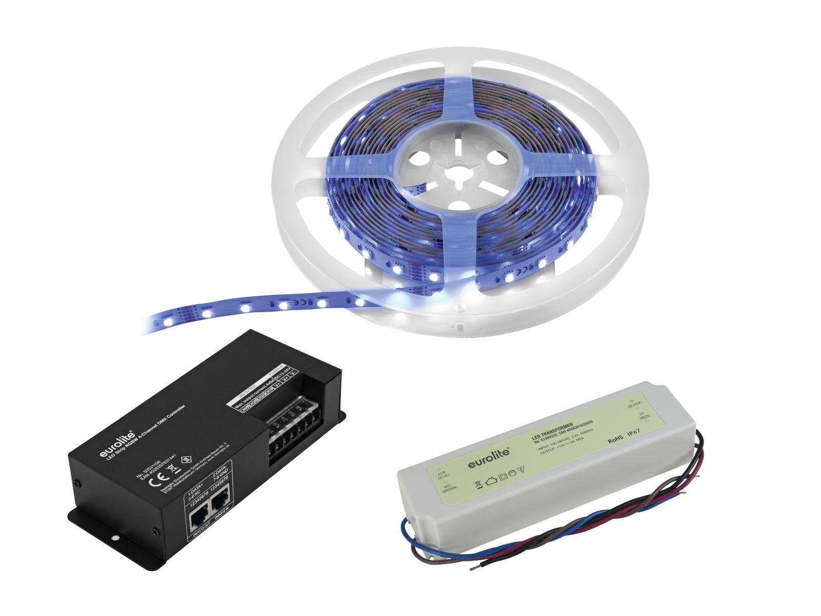 EUROLITE LED di Set Striscia RGBWW 5m + Controller DMX + Trasformatore 2