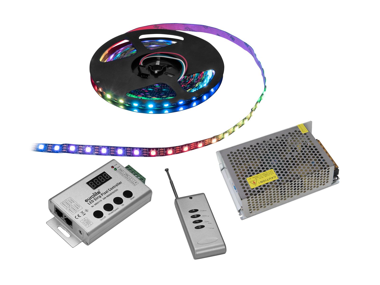 EUROLITE LED di Set Striscia di Pixel RGB 5m + Controller + Trasformatore di 5