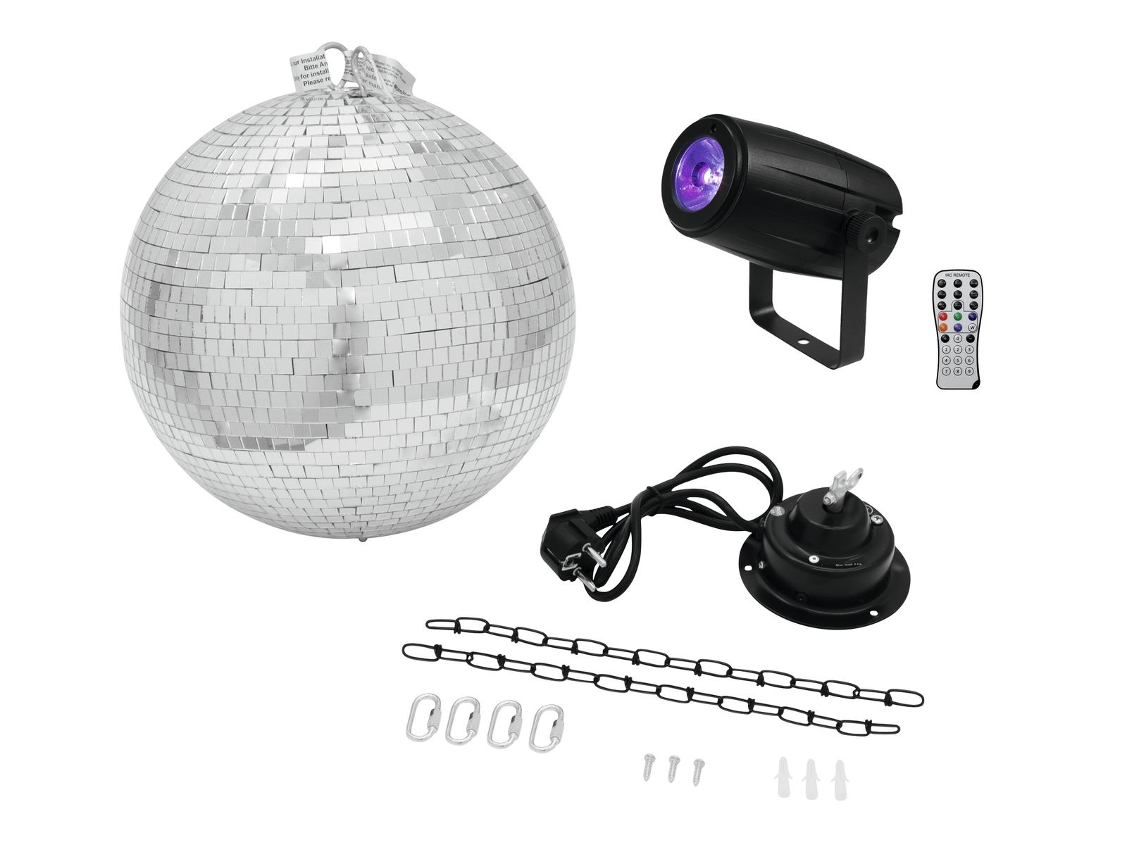 EUROLITE Mirror Ball 30cm con motore + LED PST-5 QLC Posto bk