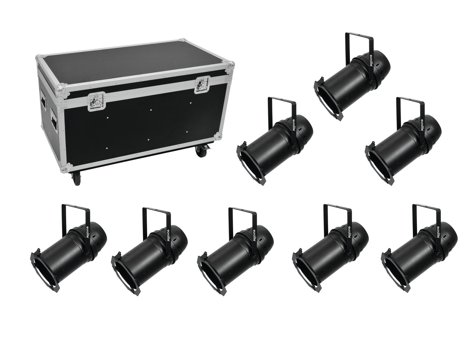 EUROLITE Set 8x LED PAR-64 COB 3000K 100W Zoom sw + Case