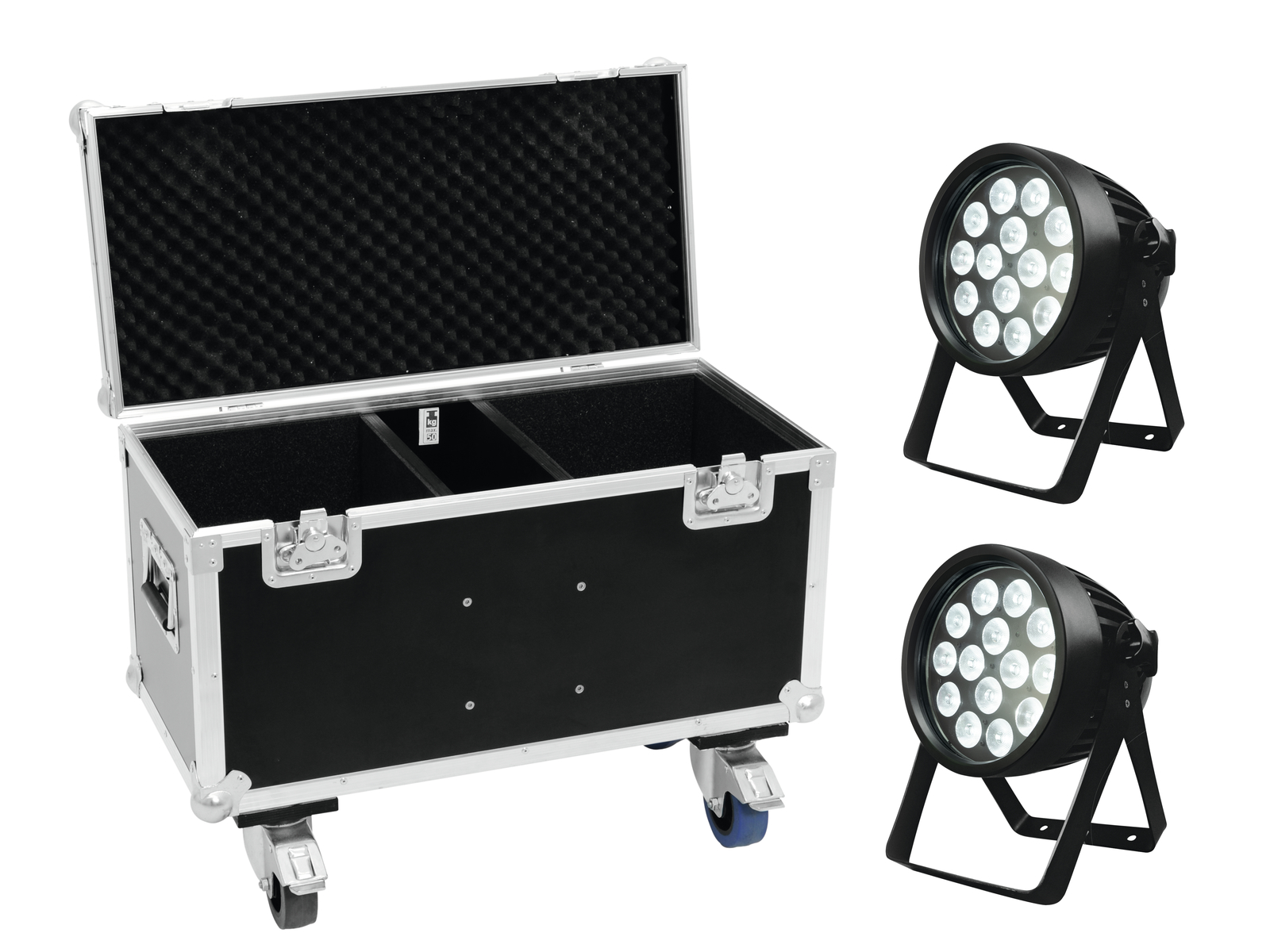 EUROLITE Set 2x LED IP PAR 14x8W QCL + Case mit Rollen