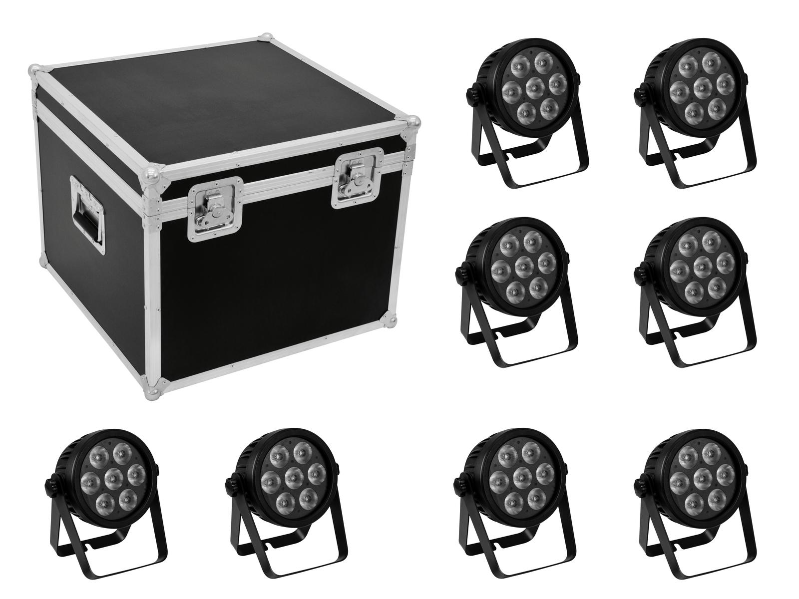 EUROLITE Set 8x LED 7C-7 Silent Slim Spot + Case
