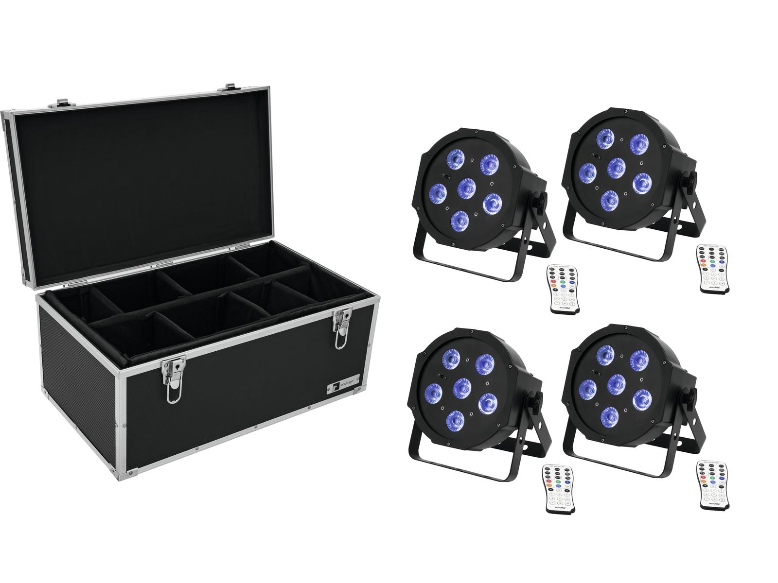 EUROLITE Set 4x LED SLS-603 TCL UV Floor + Case TDV-1