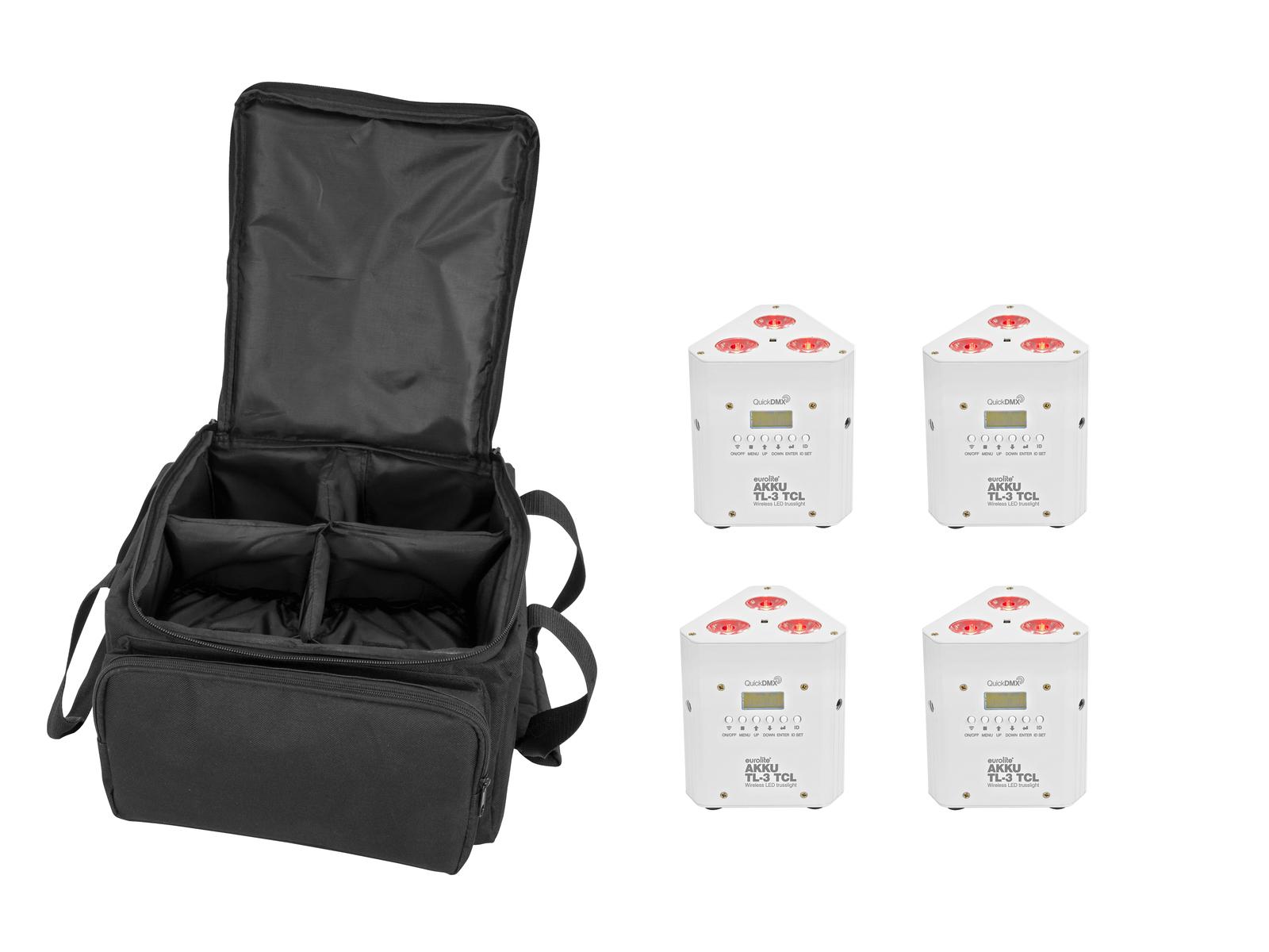 EUROLITE Set 4x AKKU TL-3 TCL weiß + SB-4 Soft-Bag