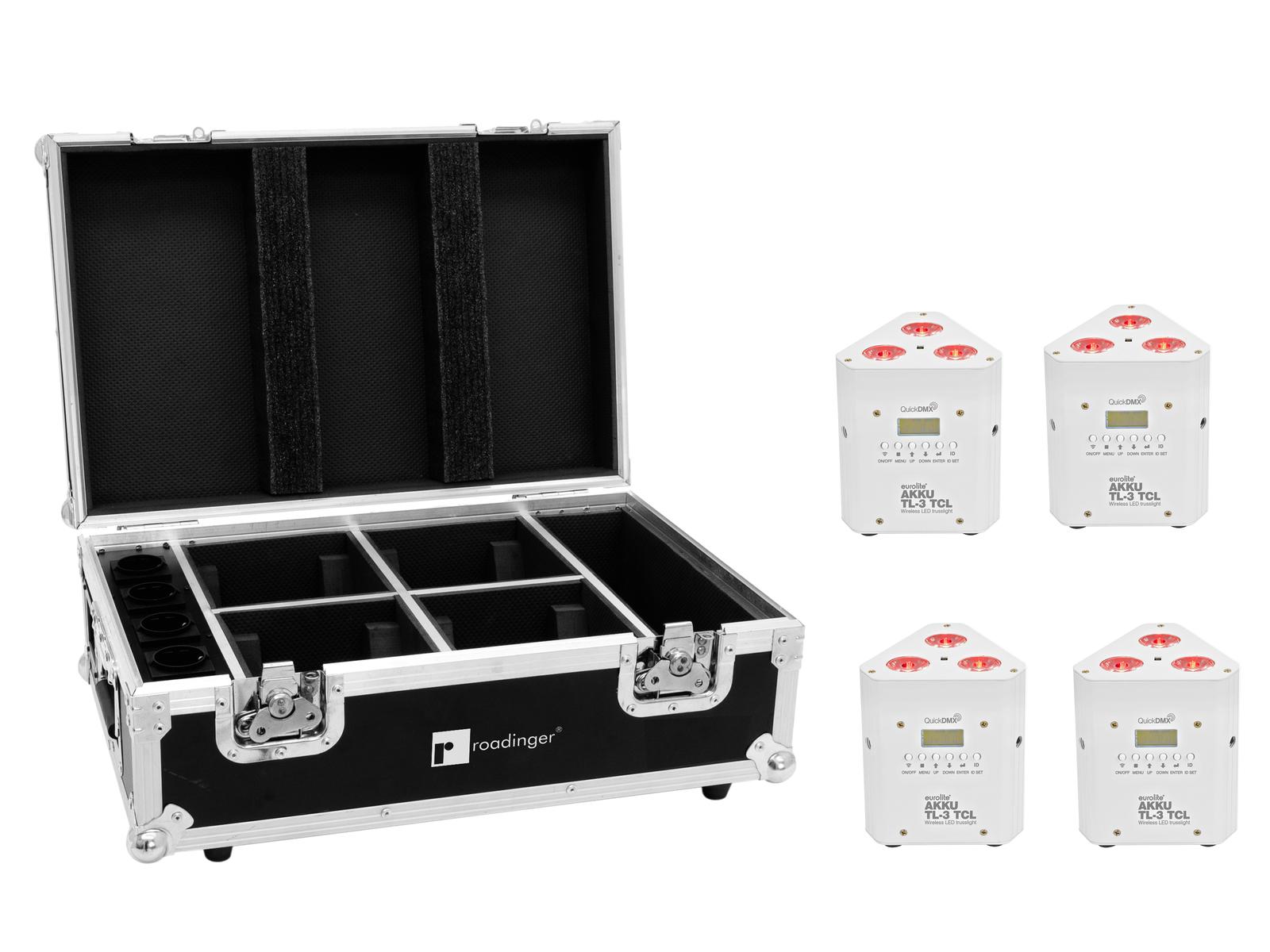 EUROLITE Set 4x AKKU TL-3 TCL weiß + Case mit Ladefunktion