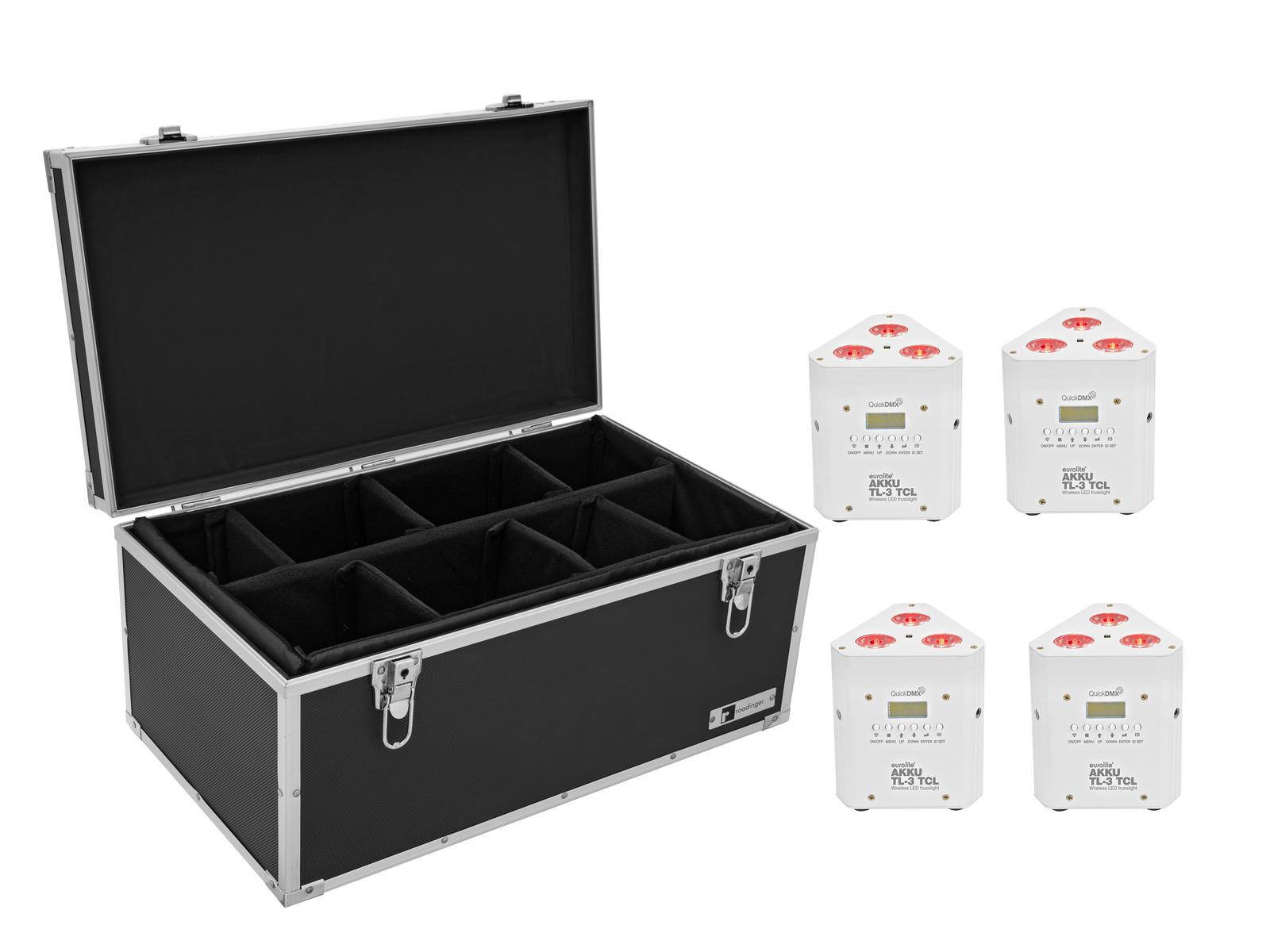 EUROLITE Set 4x AKKU TL-3 TCL weiß + Case TDV-1