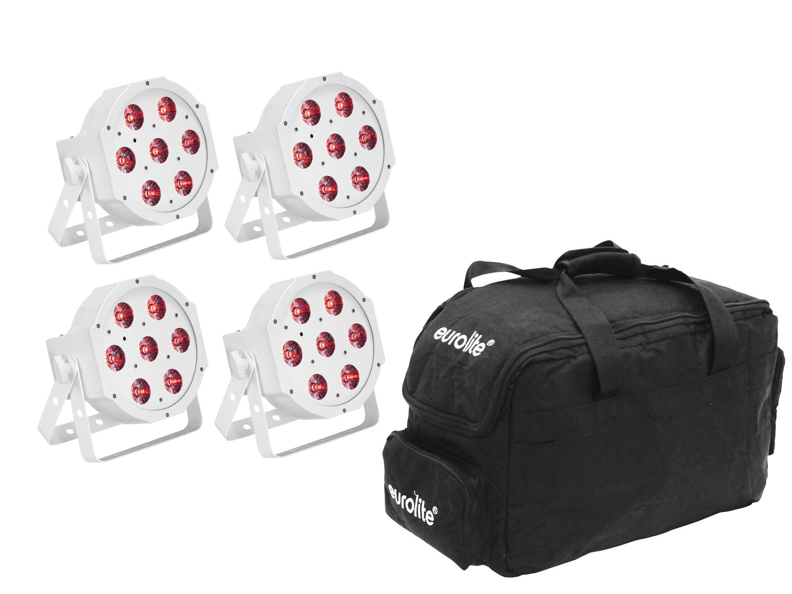 EUROLITE Set 4x LED SLS-7 HCL Spot weiß + Soft Bag