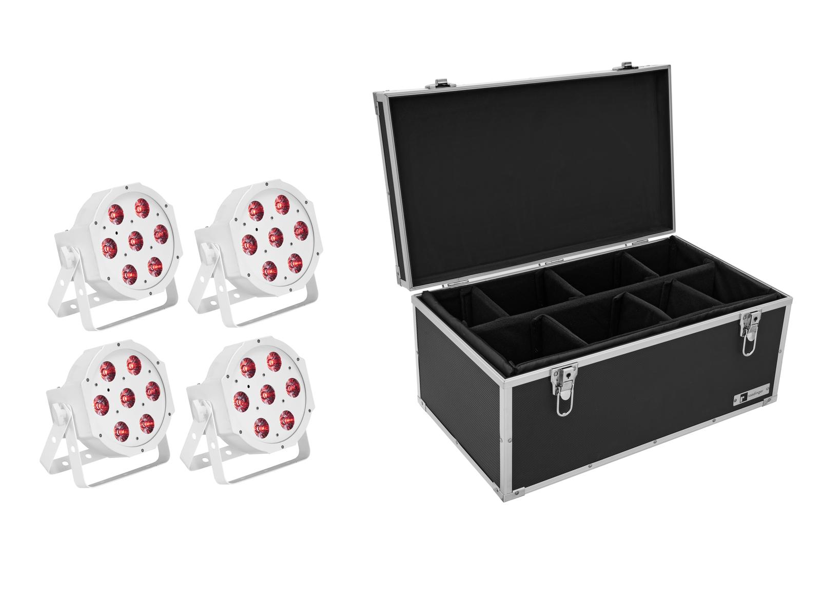 EUROLITE Set 4x LED SLS-7 HCL Floor weiß + Case