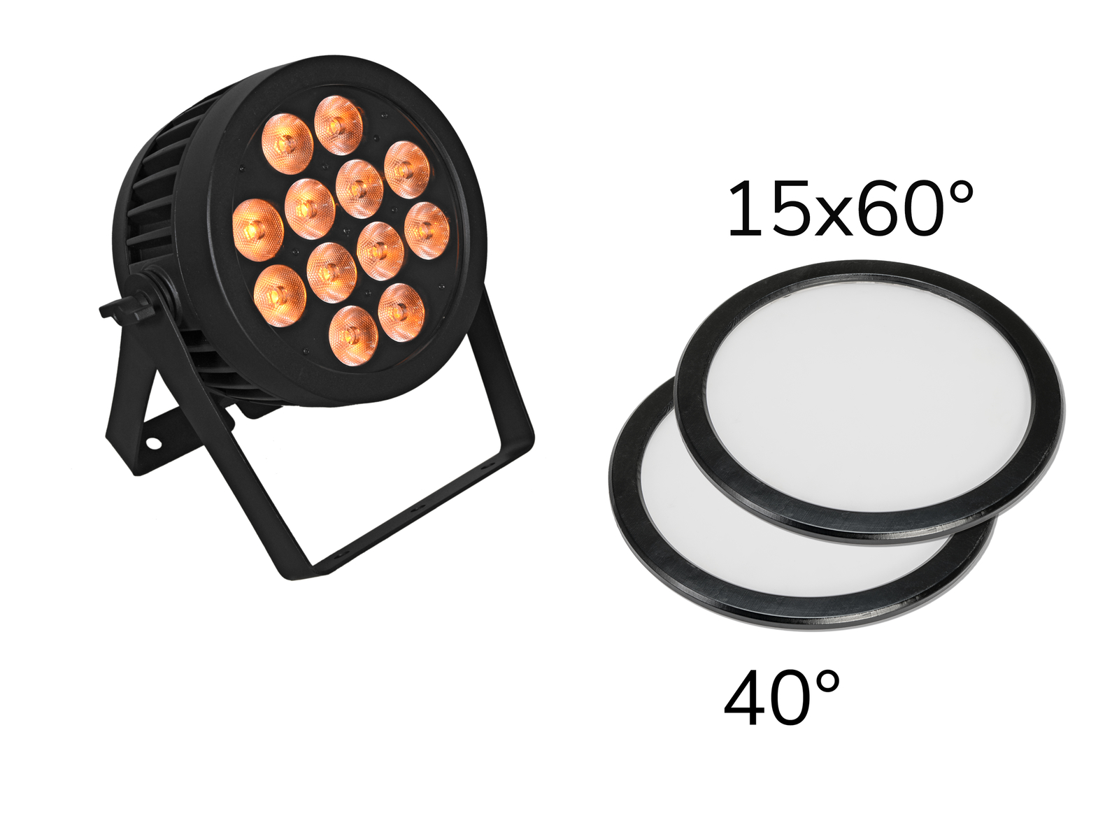 EUROLITE Set LED IP PAR 12x9W SCL Spot + 2x Diffusorscheibe (15x60° und 40°)
