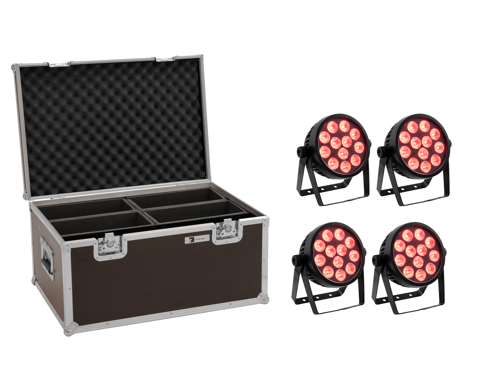 EUROLITE Set 4x LED 4C-12 Silent Slim Spot + Case