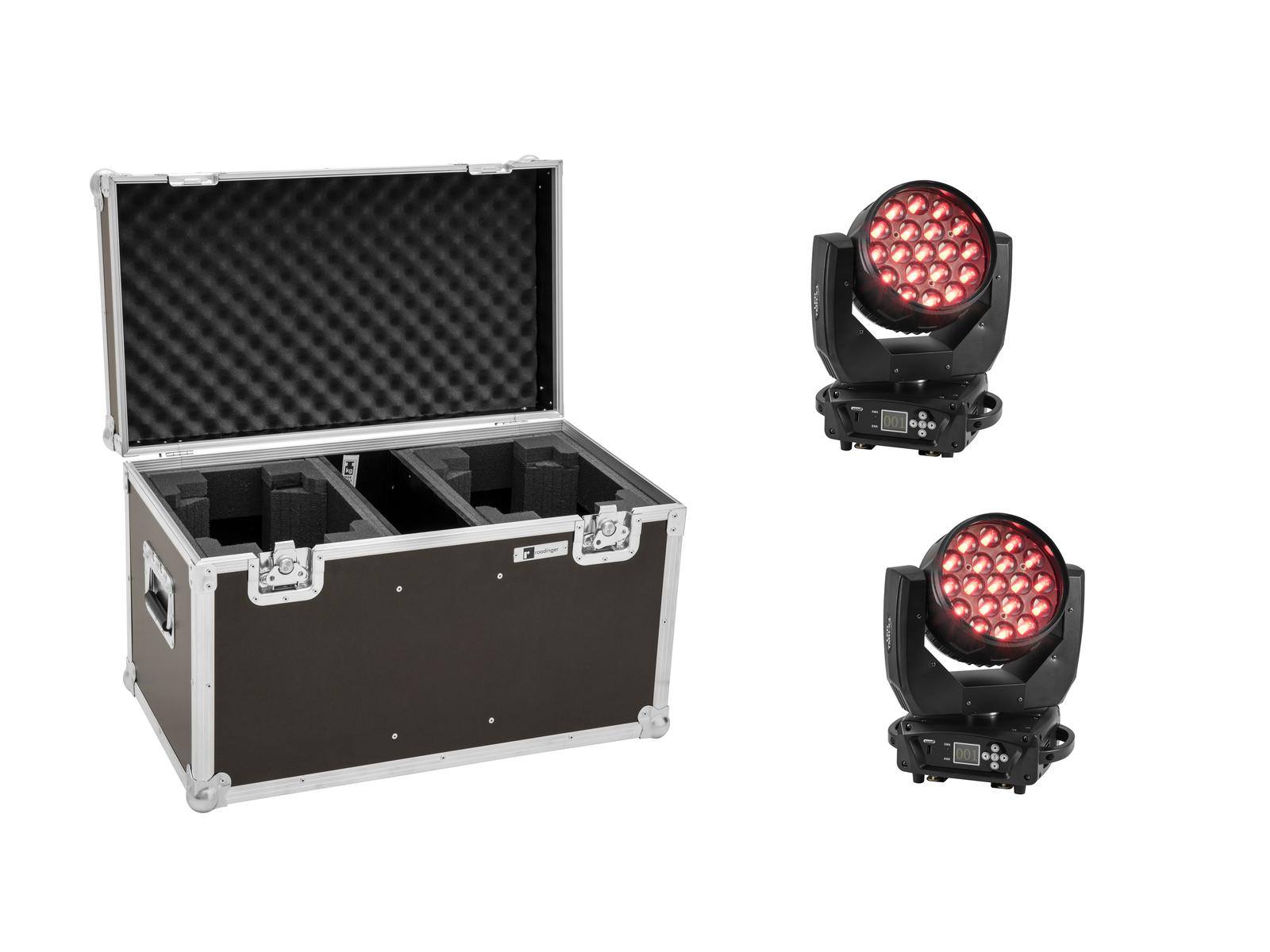 EUROLITE Set 2x LED TMH-X4 Moving-Head Wash Zoom + Case