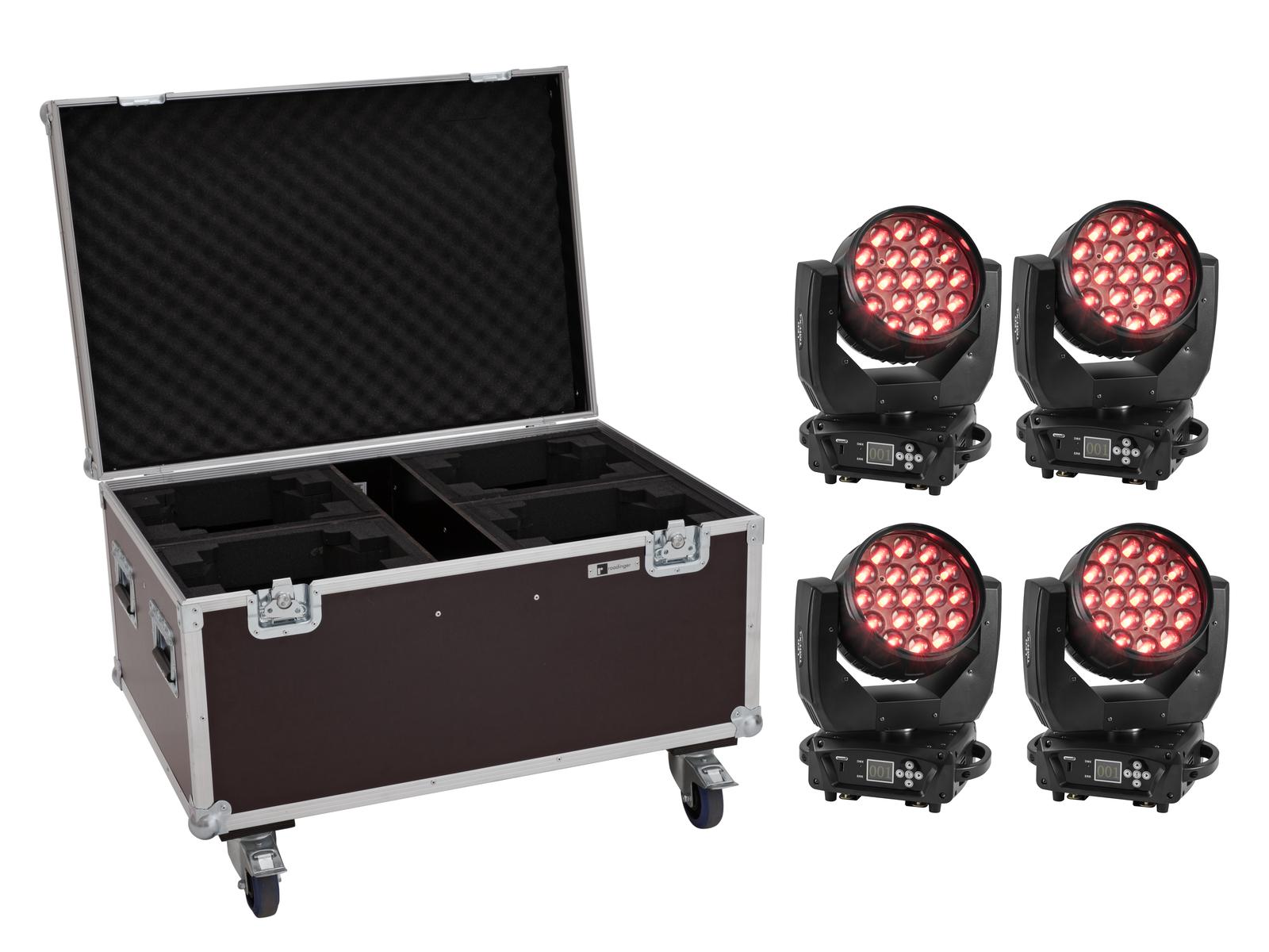 EUROLITE Set 4x LED TMH-X4 Moving-Head Wash Zoom + Case