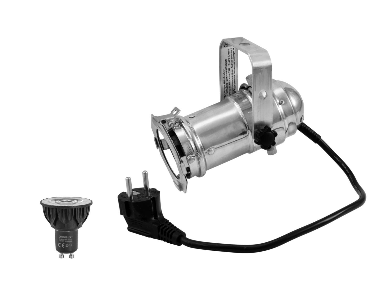 EUROLITE Set PAR-16 Spot sil + GU-10 230V COB 5W LED 1800-3000K dim2warm