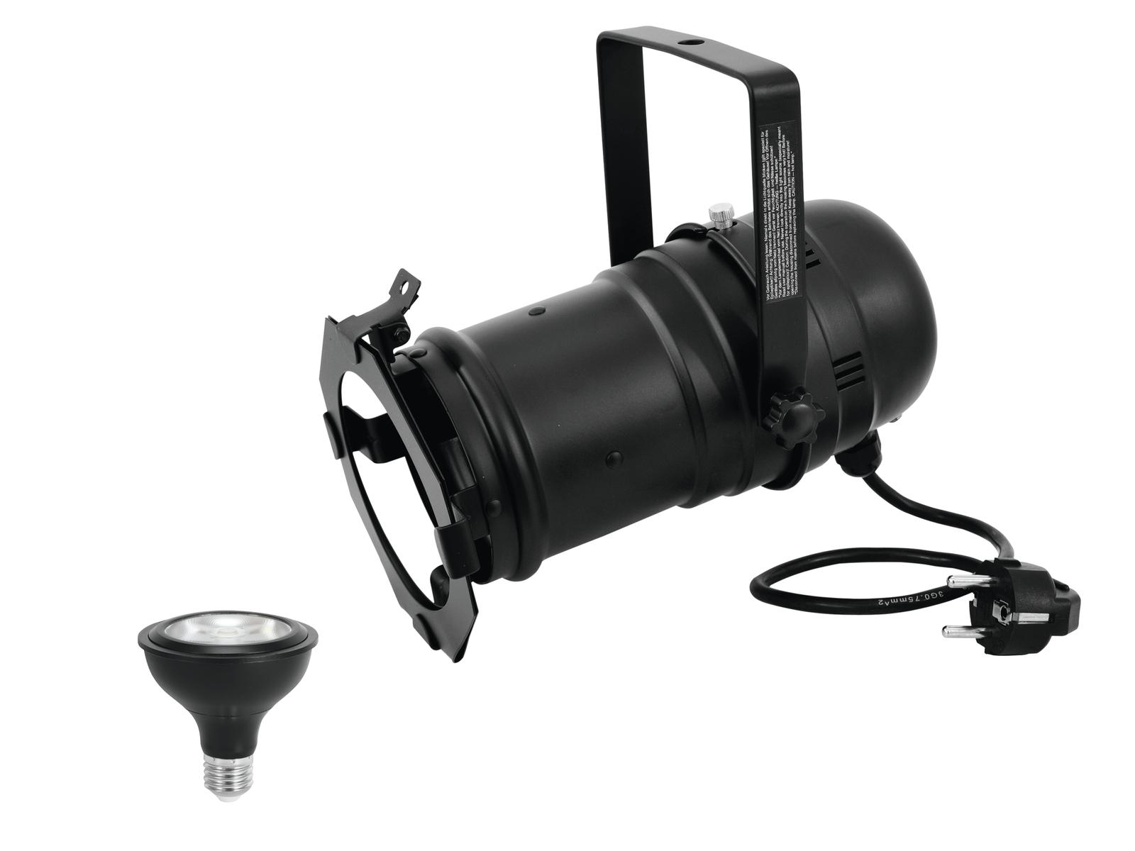 EUROLITE Set PAR-30 Spot sw + PAR-30 230V COB 12W E-27 LED 1800-3000K dim2warm
