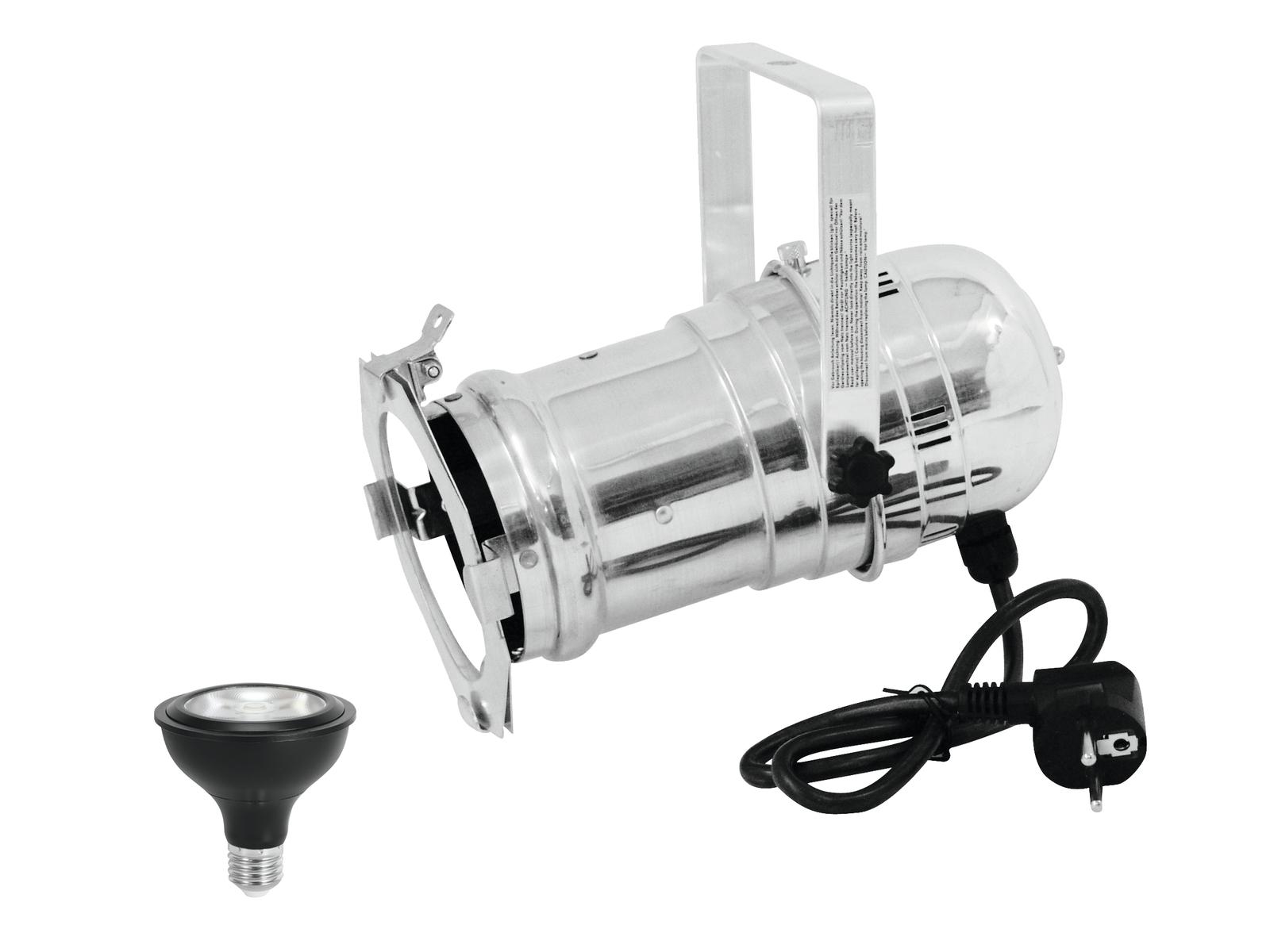 EUROLITE Set PAR-30 Spot sil+ PAR-30 230V COB 12W E-27 LED 1800-3000K dim2warm