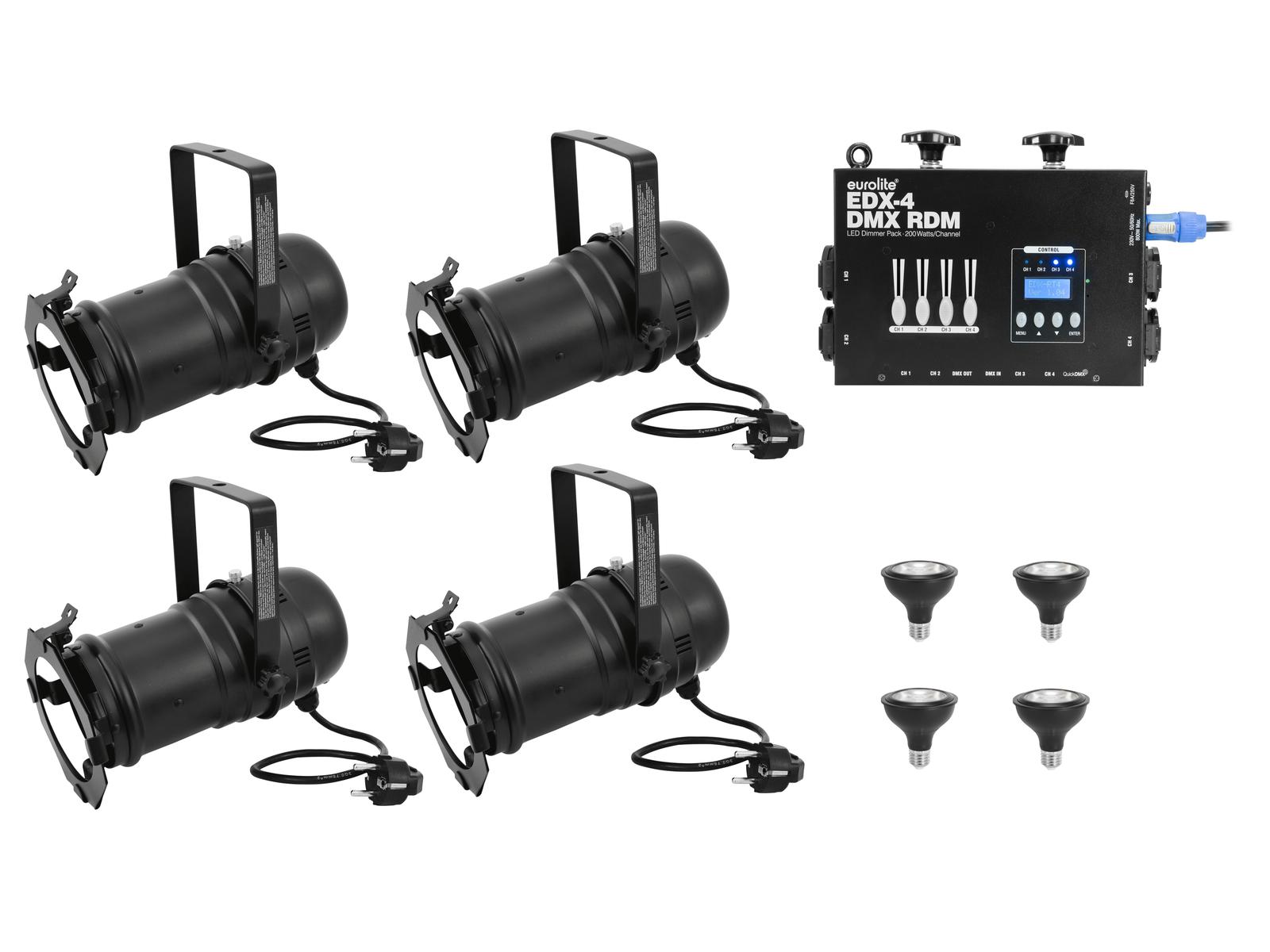 EUROLITE Set 4x PAR-30 Spot sw dim2warm + EDX-4 DMX RDM LED-Dimmerpack