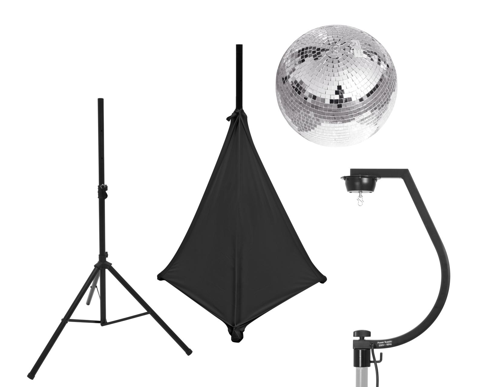 EUROLITE Set Spiegelkugel 30cm mit Stativ und Segel schwarz
