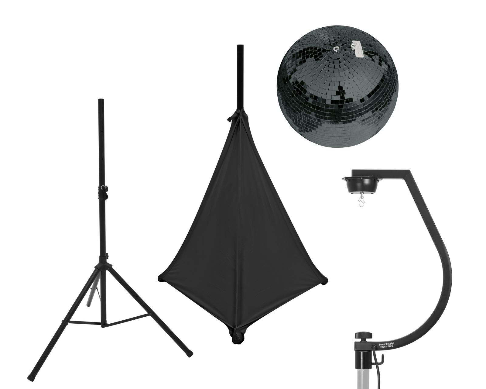EUROLITE Set Spiegelkugel 30cm schwarz mit Stativ und Segel schwarz