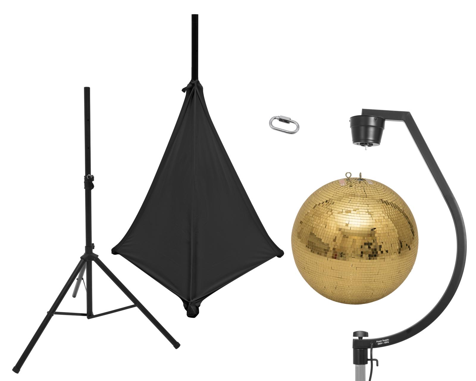 EUROLITE Set Spiegelkugel 50cm gold mit Stativ und Segel schwarz