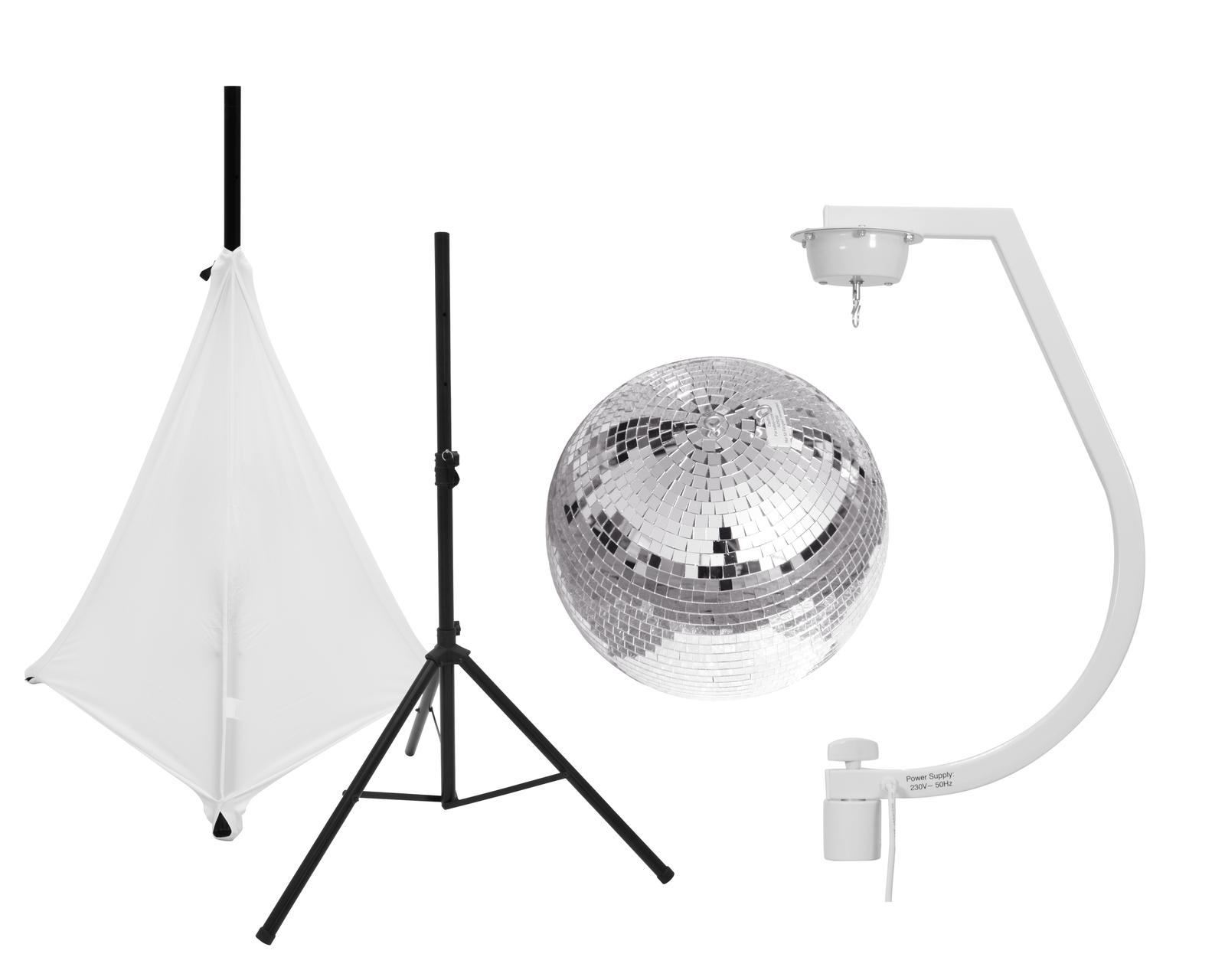 EUROLITE Set Spiegelkugel 30cm mit Stativ und Segel weiß