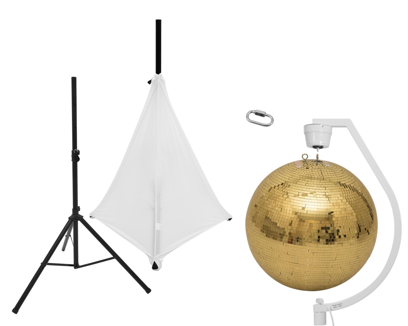 EUROLITE Set Spiegelkugel 50cm gold mit Stativ und Segel weiß