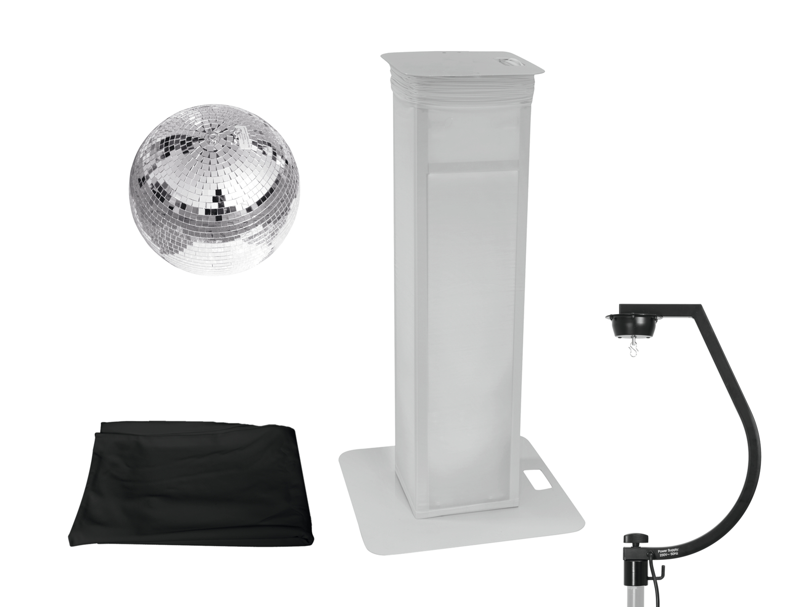 EUROLITE Set Spiegelkugel 30cm mit Stage Stand variabel + Cover schwarz